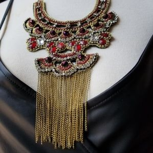 Jewelry - Ruby Red Earring & Necklace Set w/ Fringe Detail